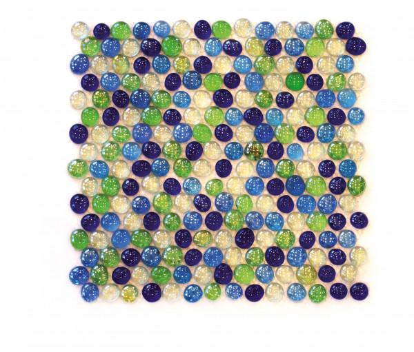 Knopfmosaik Glas Blau/Grün 29,5x30,5 cm
