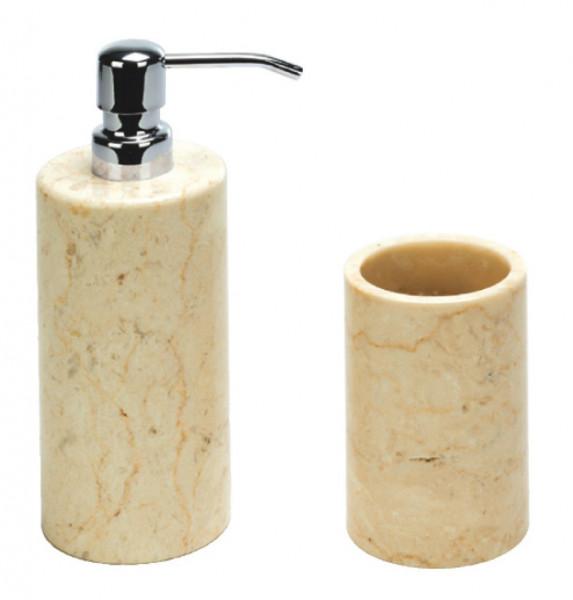 NIP Marmor Seifenspender und Zahnputzbecher
