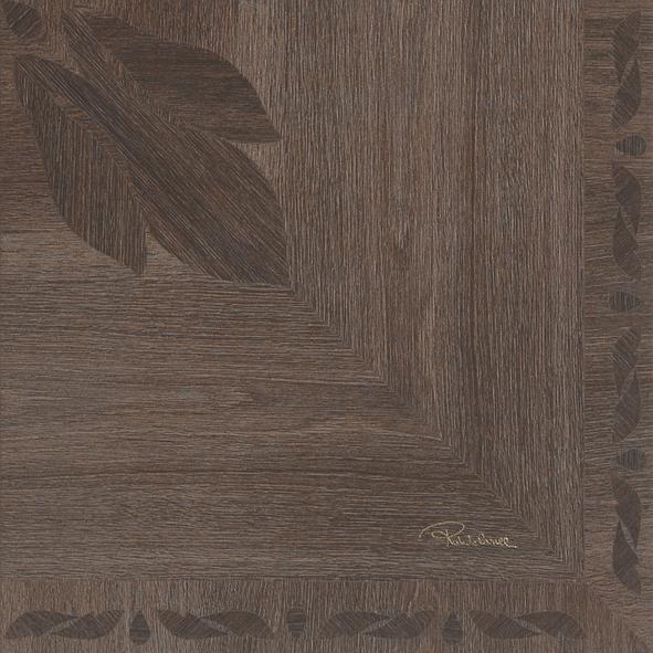 Roberto Cavalli Florale Mogano Signatur Dekor Lappato 50x50cm