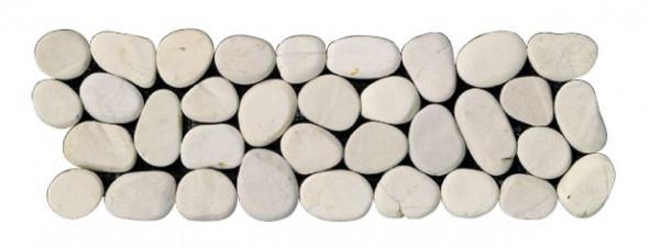 Kieselbordüre Sasso Piatto bianco 10x30cm