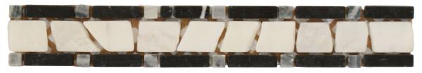 Marmor-Bordüre Kimono Nero 4,8x30,5 cm