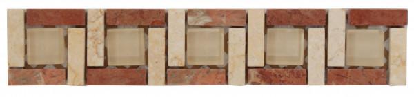 Marmor-Glas -Bordüre Beige 4,8x24,8 cm