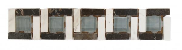 Marmor-Glas -Bordüre Nero 4,8x24,8 cm